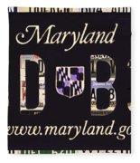 Maryland License Plate Fleece Blanket