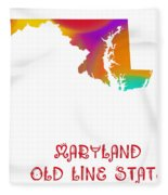 Maryland State Map Collection 2 Fleece Blanket