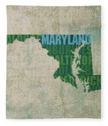 Maryland Word Art State Map On Canvas Fleece Blanket by Design Turnpike