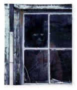 Masked Man Looking Out Window Fleece Blanket