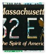 Massachusetts License Plate Fleece Blanket