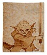 Master Yoda Jedi Fight Beer Painting Fleece Blanket