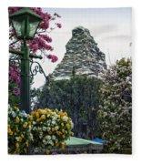Matterhorn Mountain With Flowers At Disneyland Fleece Blanket