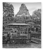 Matterhorn Mountain With Hot Popcorn At Disneyland Bw Fleece Blanket