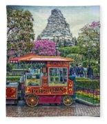 Matterhorn Mountain With Hot Popcorn At Disneyland Textured Sky Fleece Blanket