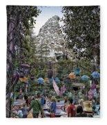 Matterhorn Mountain With Tea Cups At Disneyland Fleece Blanket