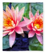 Maui Lotus Blossoms Fleece Blanket