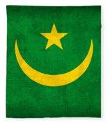Mauritania Flag Vintage Distressed Finish Fleece Blanket
