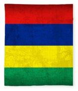 Mauritius Flag Vintage Distressed Finish Fleece Blanket