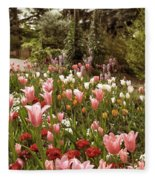 May Tulips Fleece Blanket