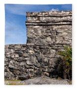 Mayan Building At Tulum Fleece Blanket