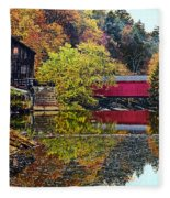 Mcconnell's Mill And Covered Bridge Fleece Blanket
