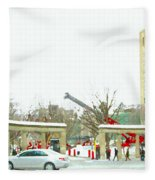 Mcgill Campus Student Cycles By Roddick Gates Sherbrooke St Montreal Winter Scene Carole Spandau  Fleece Blanket