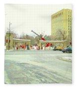 Mcgill University Campus Sherbrooke Street Scene Early Morning Winter Day Montreal Carole Spandau Fleece Blanket