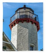 Mcgulpin Point Lighthouse Michigan Fleece Blanket