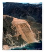 Aerial Of Mcway Landslide Big Sur California 1984 Fleece Blanket