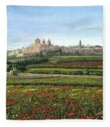 Mdina Poppies Malta Fleece Blanket
