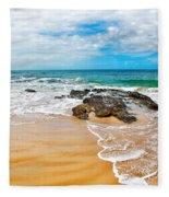 Meandering Waves On Tropical Beach Fleece Blanket