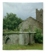 Medieval Church And Churchyard Fleece Blanket