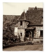 Medieval Cottage In Sarlat Sepia Fleece Blanket