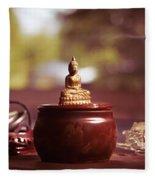 Meditating Buddha Statue Fleece Blanket
