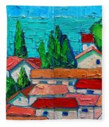 Mediterranean Roofs 1 2 Fleece Blanket