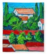 Mediterranean Roofs 2 3 4 Fleece Blanket