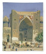 Medrasah Shir-dhor At Registan Place In Samarkand, 1869-70 Oil On Canvas Fleece Blanket