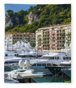 Mega Yachts In Port Of Nice France Fleece Blanket