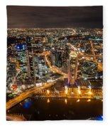 Melbourne At Night Vi Fleece Blanket