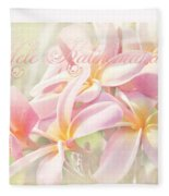 Mele Kalikimaka - Pink Plumeria - Hawaii Fleece Blanket