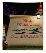 Mele Kalikimaka Sign And Elves Fleece Blanket