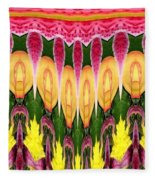 Melting Lily And Chrysanthemums Abstract Fleece Blanket