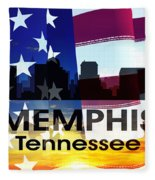Memphis Tn Patriotic Large Cityscape Fleece Blanket