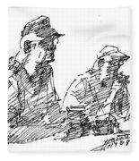 Men At The Bar Fleece Blanket