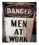 Men At Work Sign Fleece Blanket