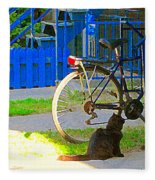 Meow Cat In Verdun Waiting By The Step Beautiful Summer Montreal Pet Lovers City Scene C Spandau Fleece Blanket