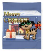 Meowy Christmas Fleece Blanket
