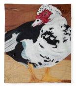 Merganser Duck Painted On Cedar Fleece Blanket