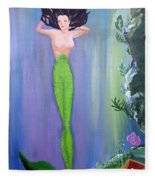 Mermaid And Treasure Chest  Fleece Blanket