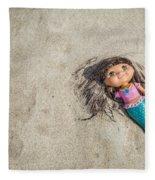 Mermaid In The Sand Fleece Blanket