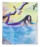 Mermaid Pelicans Surf Beach Cathy Peek Art Fleece Blanket
