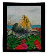 Mermaid Sailboat Flowers Cathy Peek Fantasy Art Fleece Blanket
