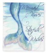 Mermaid Tail I (kisses And Wishes) Fleece Blanket
