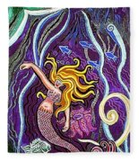 Mermaid Under The Sea Fleece Blanket