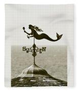 Mermaid Weathervane In Sepia Fleece Blanket