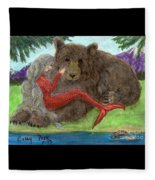 Mermaids Bear Cathy Peek Fantasy Art Fleece Blanket