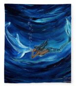 Mermaids Dolphin Buddy Fleece Blanket