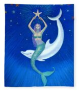 Mermaids- Dolphin Moon Mermaid Fleece Blanket