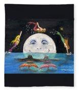 Mermaids Jumping Over Moon Cathy Peek Fleece Blanket